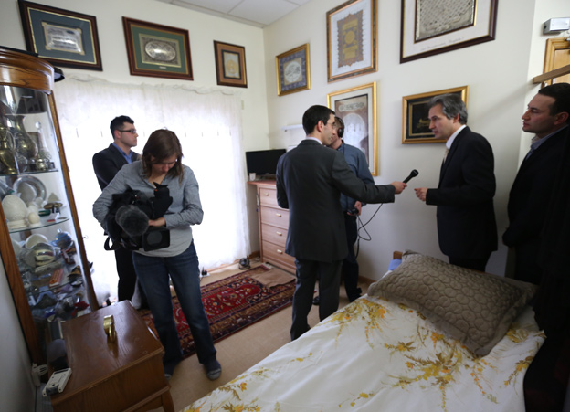 Mr Gulen's tiny bedroom - a surprise, given the size of his residence
