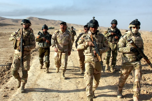Iraqi security guards on patrol Photo: Getty