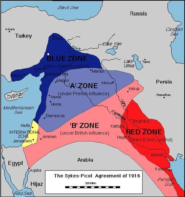 Οι αραβικές επαρχίες της καταρρέουσας Οθωμανικής Αυτοκρατορίας όπως χαράχθηκαν το 1916 με τη μυστική συμφωνία Σάικς-Πικό: με μπλε σκούρο η σημερινή Νότια Τουρκία ήταν υπό τον έλεγχο της Γαλλίας, με μπλε ανοικτό η σημερινή Συρία υπό γαλλική επιρρόη, με ροζ το σημερινό Ιράκ και η Ιορδανία υπό βρετανική επιρροή και με κόκκινο ενα κομμάτι του σημερινού Ιράν υπό βρετανικό έλεγχο