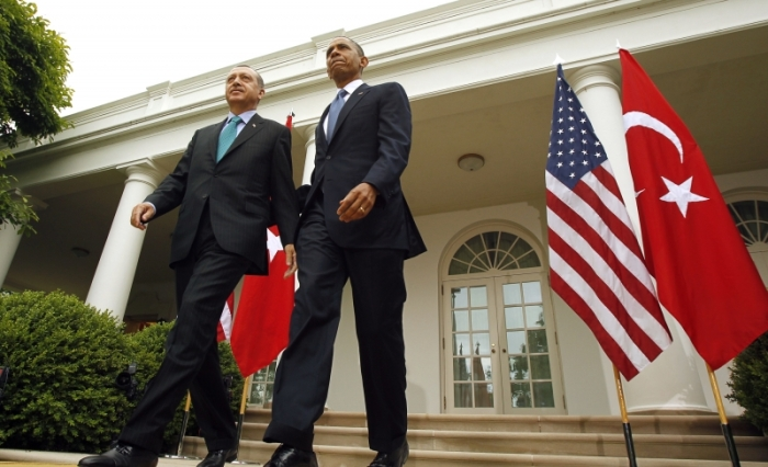 Recep Tayyip Erdogan and Barack Obama in the White House Rose Garden, May 16, 2013. (Kevin Lamarque / Courtesy Reuters)