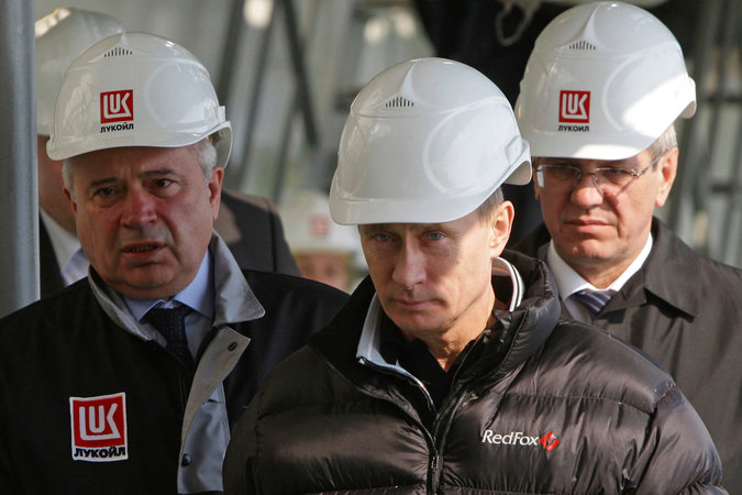 Vladimir V. Putin of Russia visiting a Lukoil oil platform in the Caspian Sea in 2010. Credit RIA Novosti/Alexei Druzhinin, via Pool, via Reuters