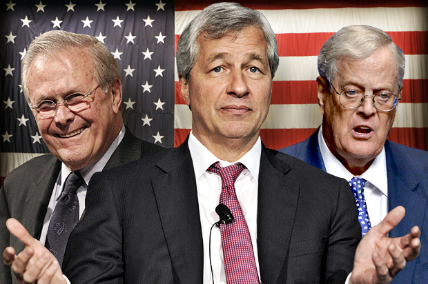 Donald Rumsfeld, Jamie Dimon, David Koch (Credit: AP/Rob Carr/Reuters/Keith Bedford/AP/Phelan M. Ebenhack/Photo montage by Salon)